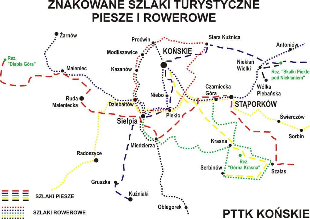Znakowane szlaki turystyczne piesze i rowerowe